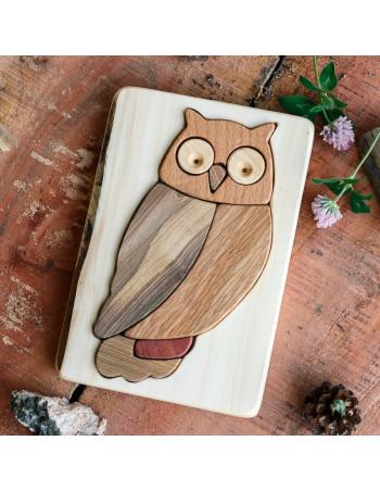 Owl Puzzle on Red Alder Planks
