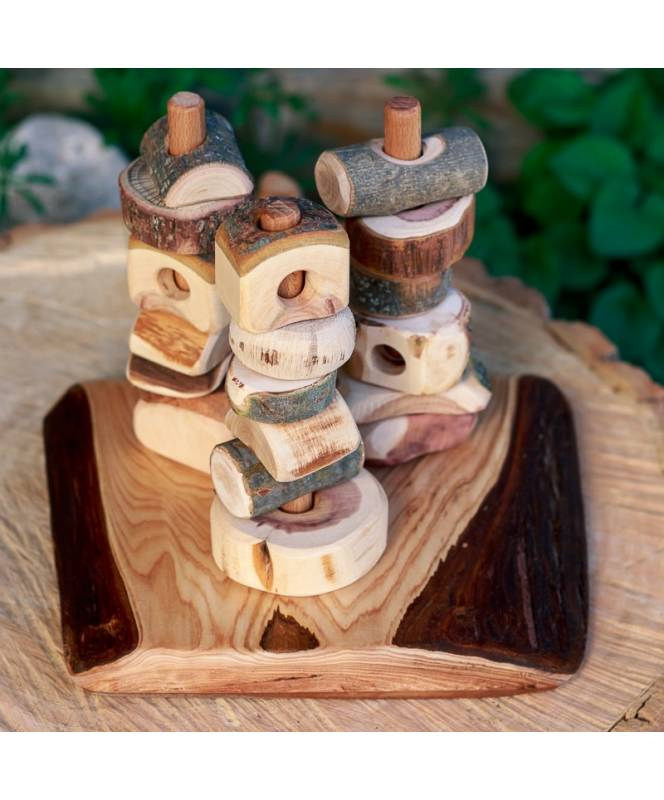 Pillars of the Earth wooden base with bark
